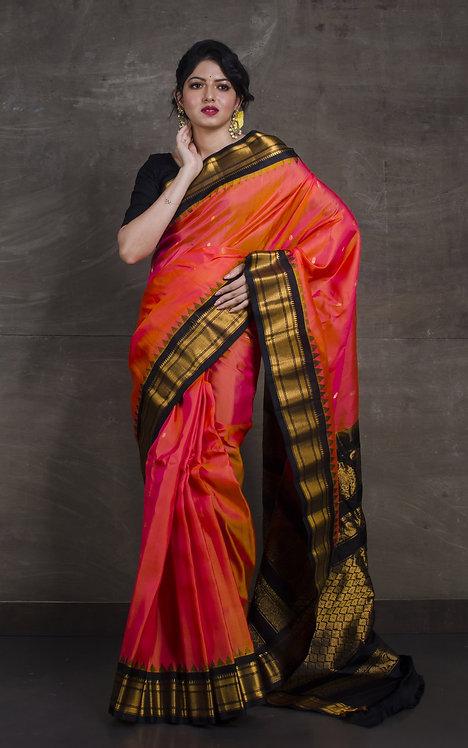 Gadwal Silk Saree in Orangish Peach and Black