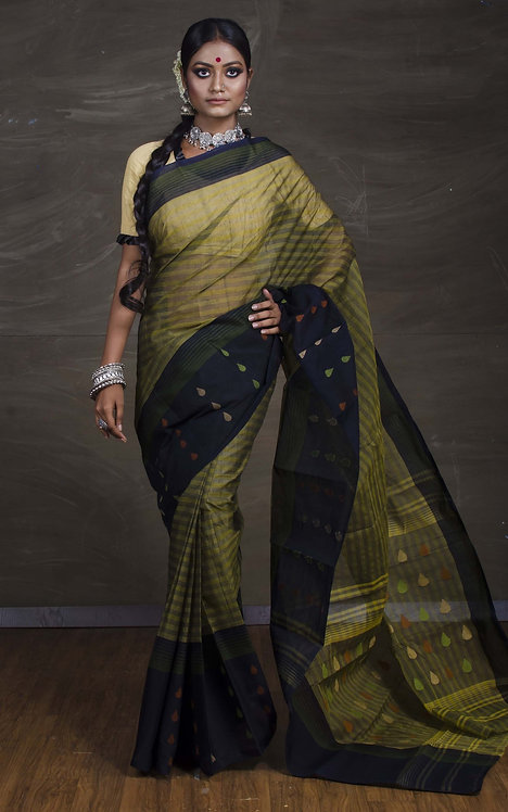 Bengal Handloom Cotton Saree with Starch in Moss Green and Black