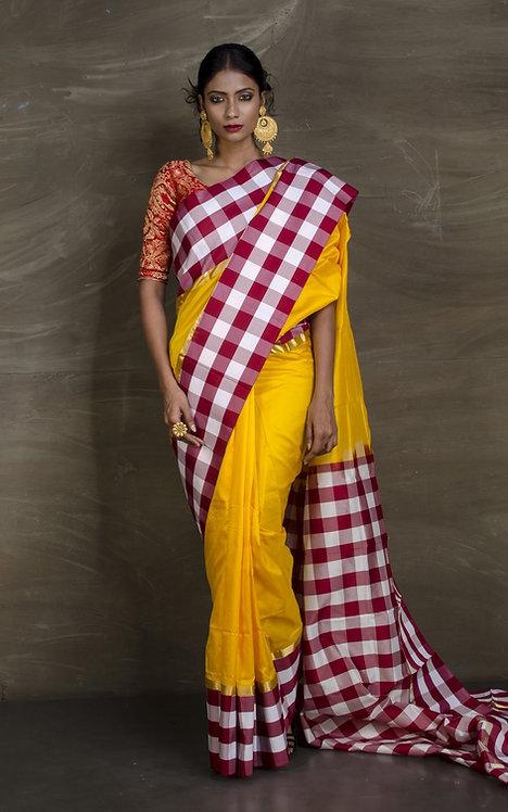 Semi Pure South Silk Check Border Saree in Yellow, White and Maroon