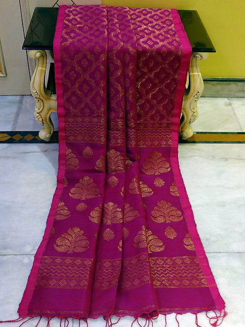 Tanchoi Brocade Linen Banarasi Saree in Purple and Antique Gold