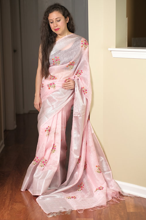 Exclusive Pure Silk Linen Embroidery Saree in Baby Pink and Silver