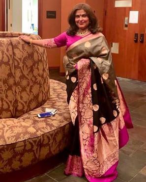 Bengal Looms Client Diaries - Sutapa di from New Jersey looking absolutely fabulous in her Pure Katan Silk Banarasi Saree from Bengal Looms.