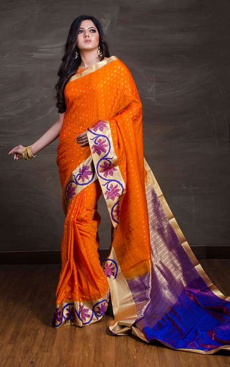 Kanchipuram Saree in Orange, Blue and Red