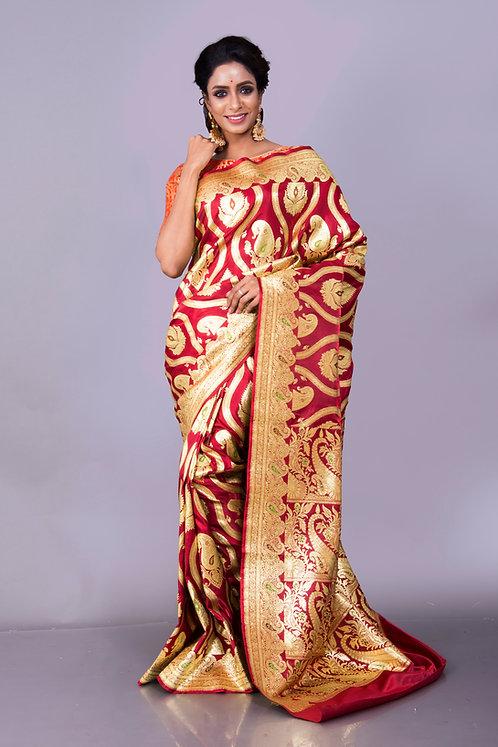 Art Silk Bridal Banarasi Saree in Maroon