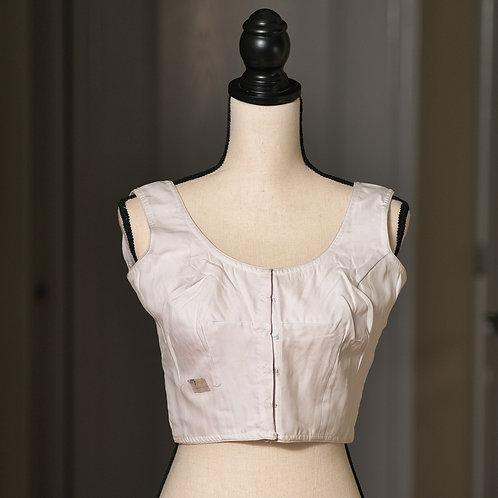 Off White Sleeveless Designer Saree Blouse in Size 36