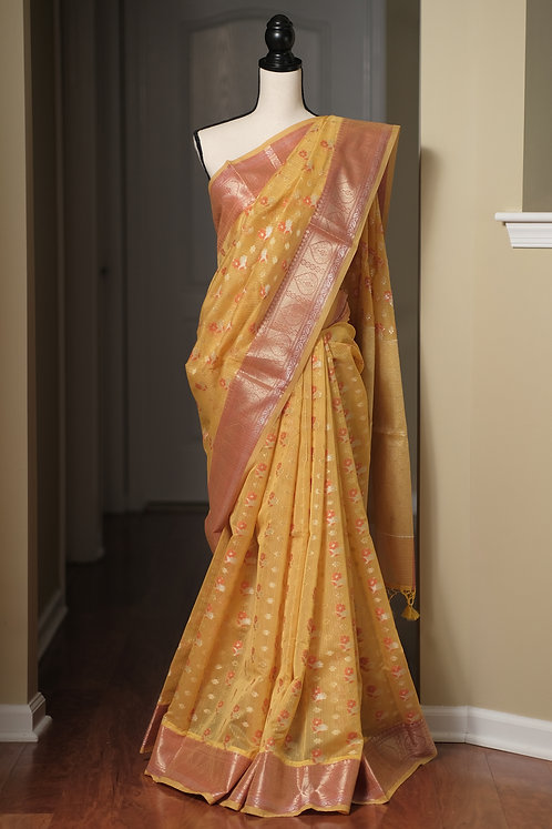 Blended Cotton Banarasi Saree in Yellow and Brushed Gold