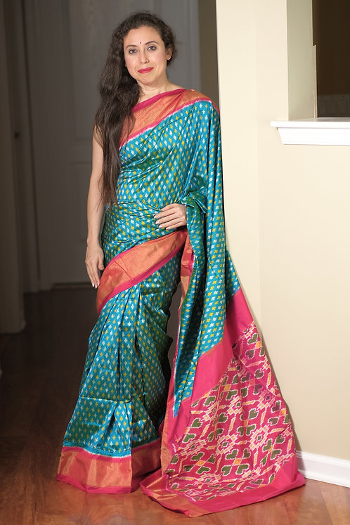 Pochampally Double Ikat Silk Saree in Rama Blue, Rosy Pink and Gold