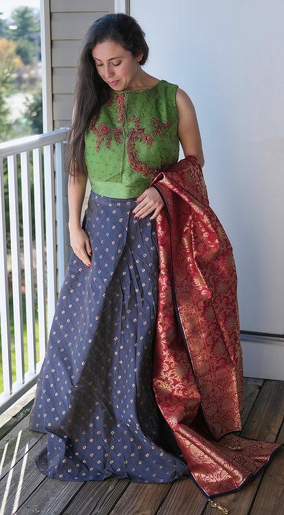 Banarasi Flared Long Skirt with Dupatta and 36 Size Blouse