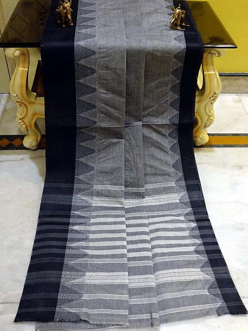 Bengal Handloom Cotton Saree in Gray and Black