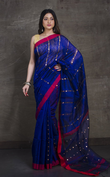 Matka Tussar Saree with Sequin in Royal Blue and Red