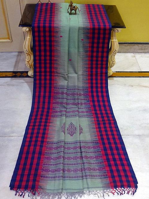 Checks Border Soft Cotton Kalakshetra Saree in Sage Green, Magenta and Black