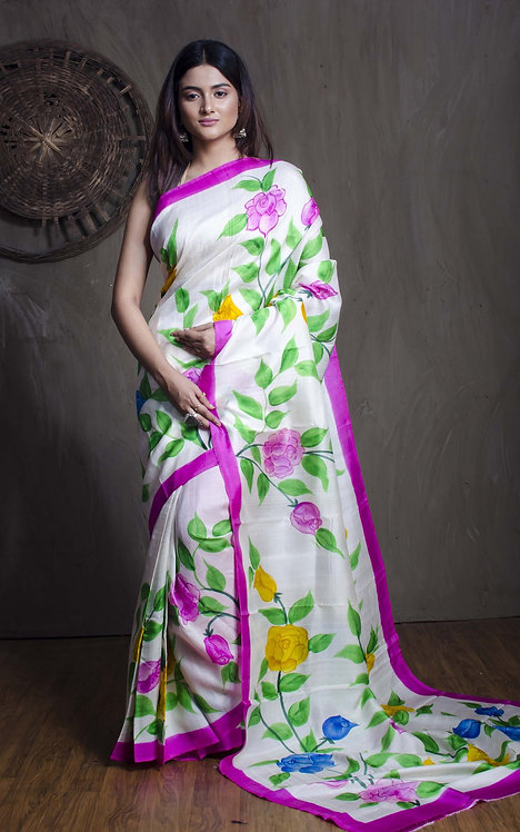 Floral Printed Pure Silk Saree in Off White, Pink and Yellow