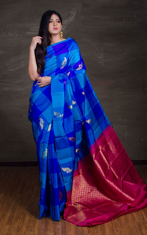 Exclusive Checks Kanjivaram Saree in Blue and Rani