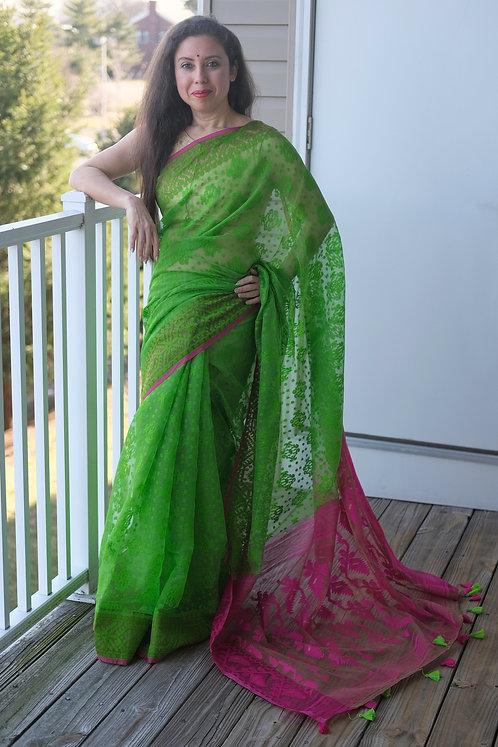 Soft Jamdani Saree in Parrot Green and Rani