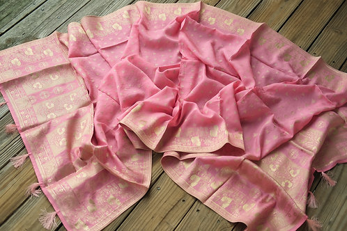 Banarasi Soft Silk Dupatta with Brushed Gold  Zari in Baby Pink