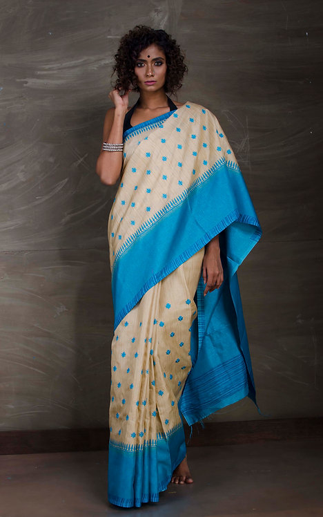 Semi Tussar Embroidery Saree in Beige and Blue