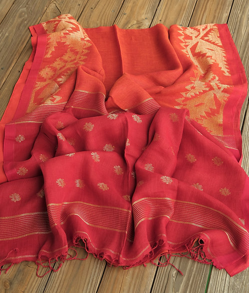 Linen Jamdani Saree in Orange and Red