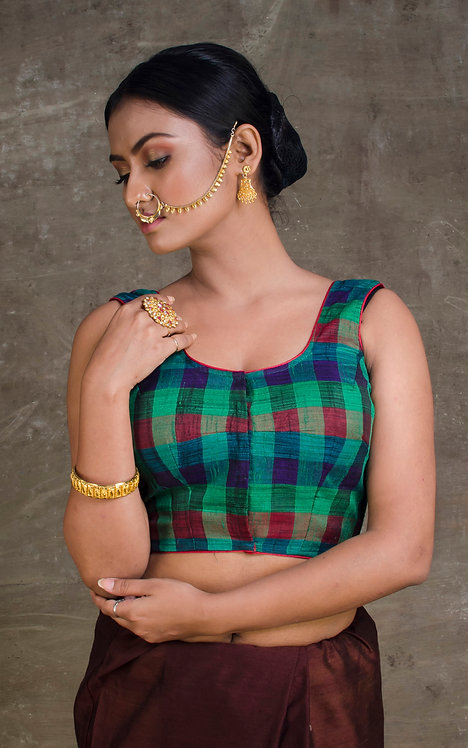 Green and Red Checks Sleeveless Designer Saree Blouse in Size 38