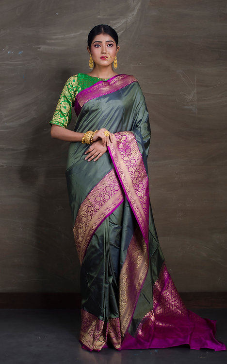Pure Banarasi Silk Saree in English Green and Magenta