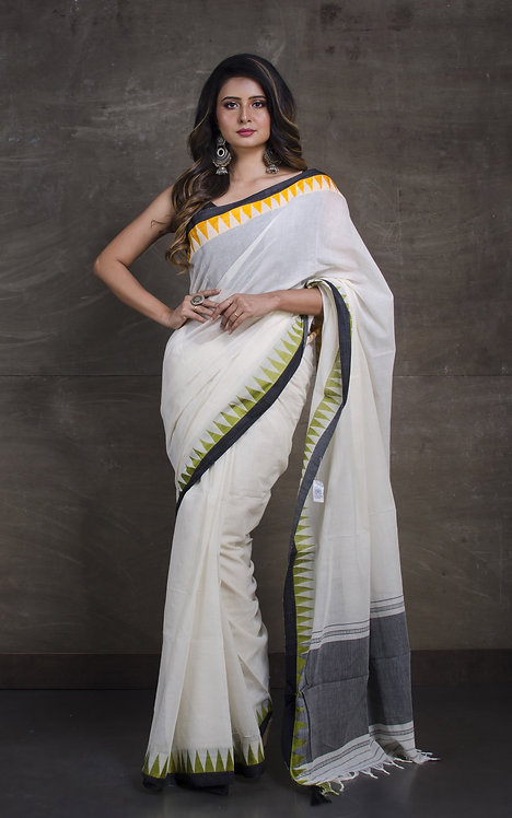 Bengal Handloom Cotton Saree with Starch in Off White, Yellow and Black