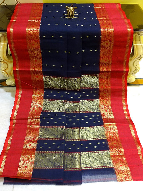 Bengal Handloom Cotton Saree with Starch in Dark Blue and Red