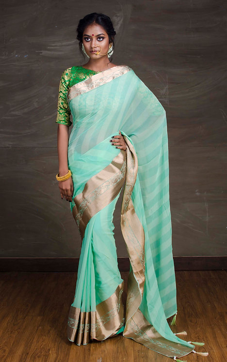 Designer Chiffon Banarasi Saree in Sea Green and Gold