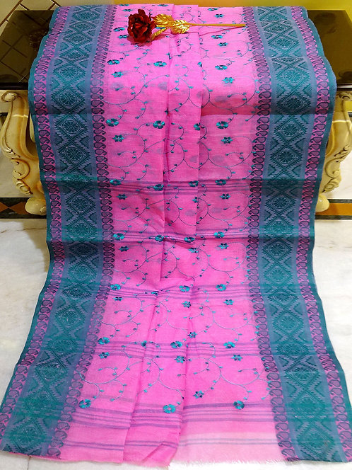Bengal Handloom Cotton Embroidery Saree with Starch in Pink and Teal Blue