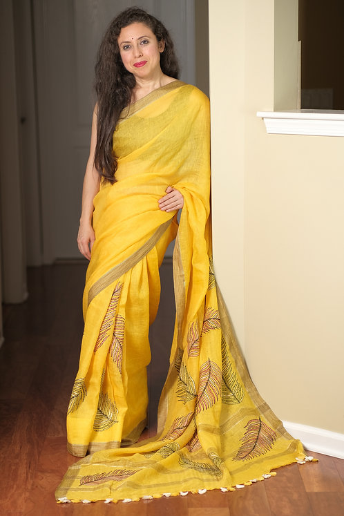 Exclusive Pure Linen Kantha Embroidery Saree in Yellow
