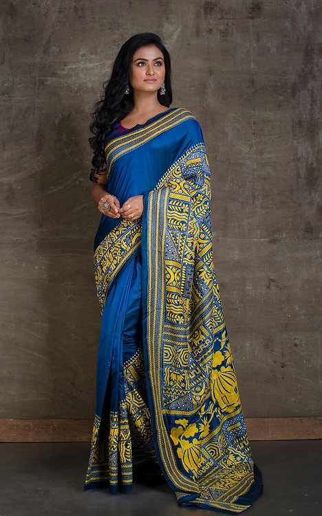 Pure Silk Kantha Hand Embroidered Saree in Blue and Yellow