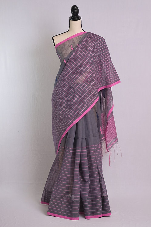 Soft Cotton Saree in Gray and Pink