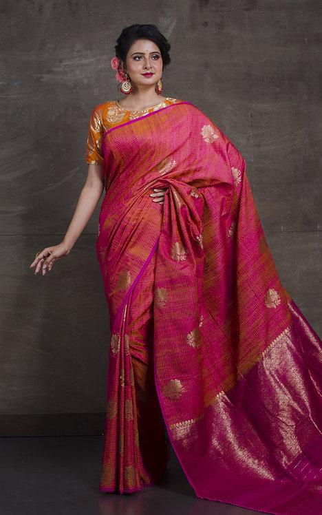 Pure Dupion Tussar Banarasi Saree in Salmon Pink and Magenta