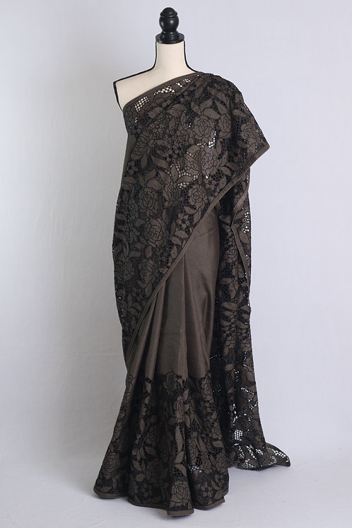Semi Tussar All Over Body Cut Work Saree in Charcoal Black
