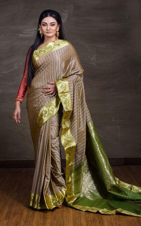 Art Silk Kanchipuram Saree in Grey and Green