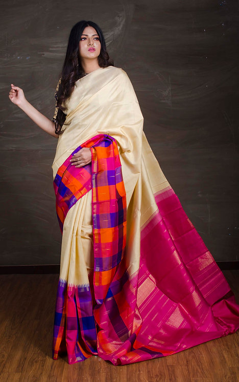 Exclusive Kanjivaram Silk Saree in Cream and Magenta