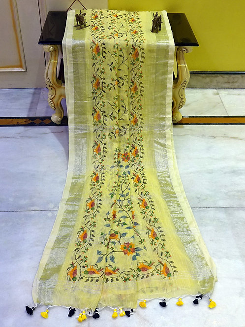 Printed Soft Woven Cotton Linen Saree in Light Yellow and Silver