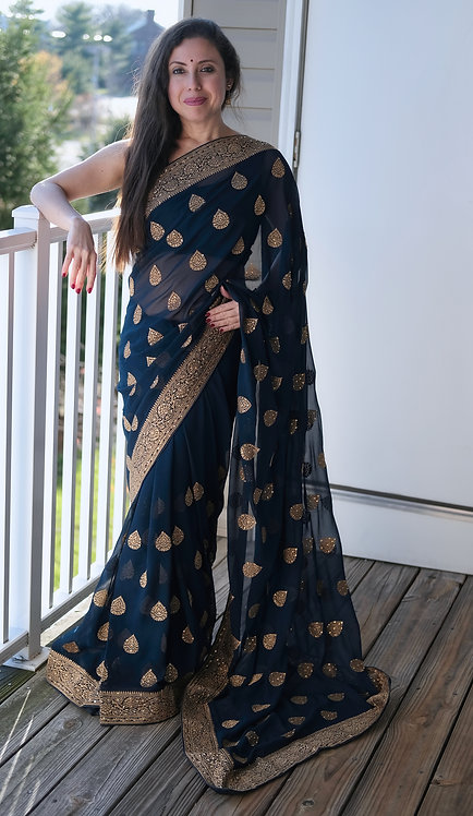 Designer Party Wear Embroidery Chiffon Saree in Prussian Blue