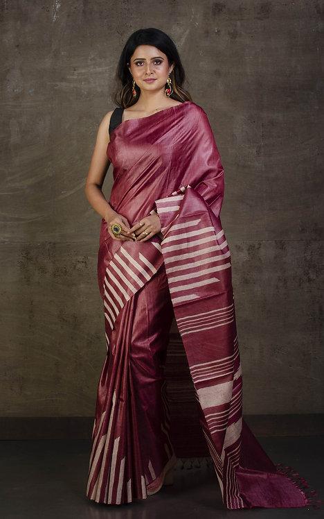 Pure Tussar Kosa Silk Saree in English Purple and Beige
