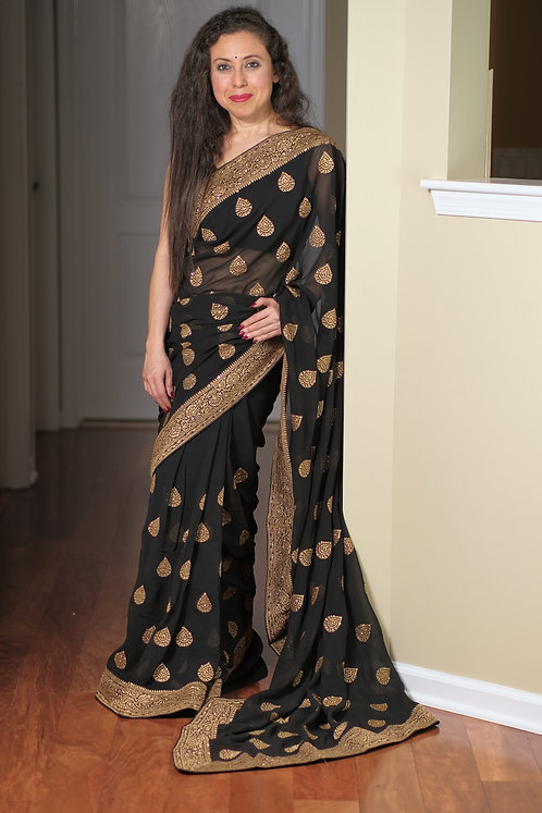 Designer Party Wear Embroidery Chiffon Saree in Black