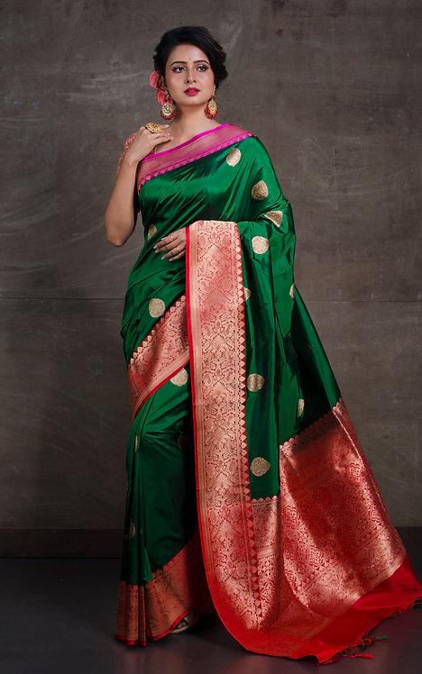 Pure Katan Banarasi Silk Saree in Dark Green, Red and Pink