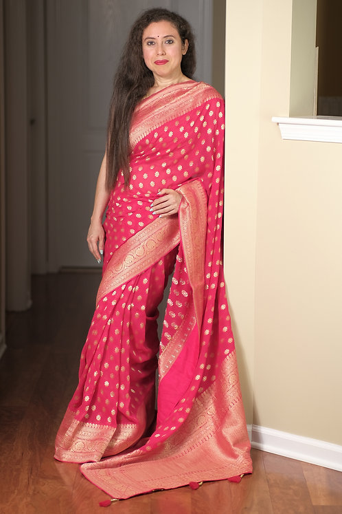 Pure Crepe Georgette Banarasi Saree in Rosy Pink, Silver and Gold