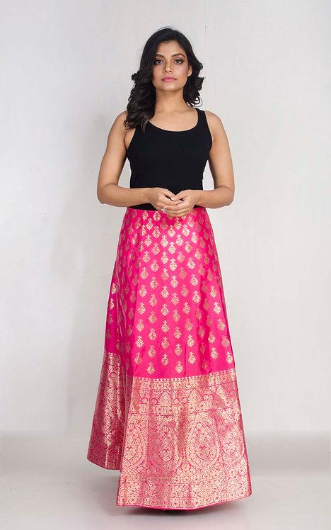 Banarasi Silk Flared Long Skirt in Pink and Gold, Size XXL