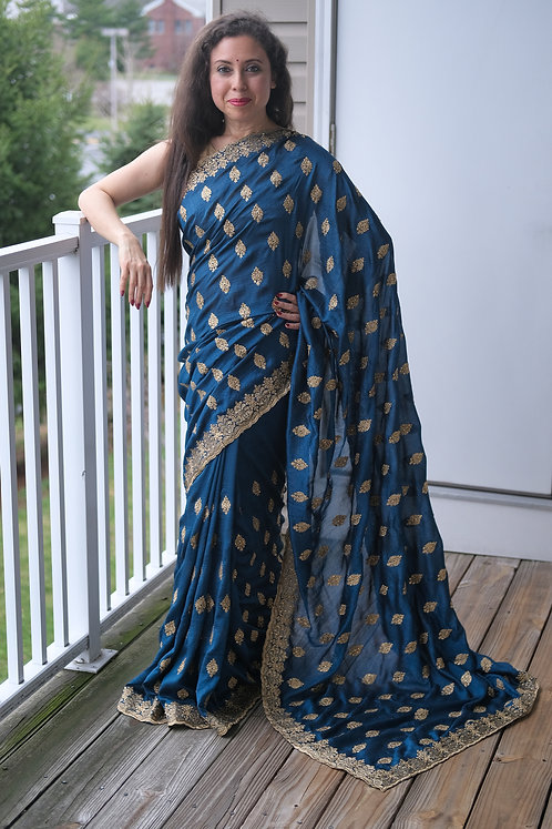 Tussar Embroidery Saree in Cobalt Blue and Gold