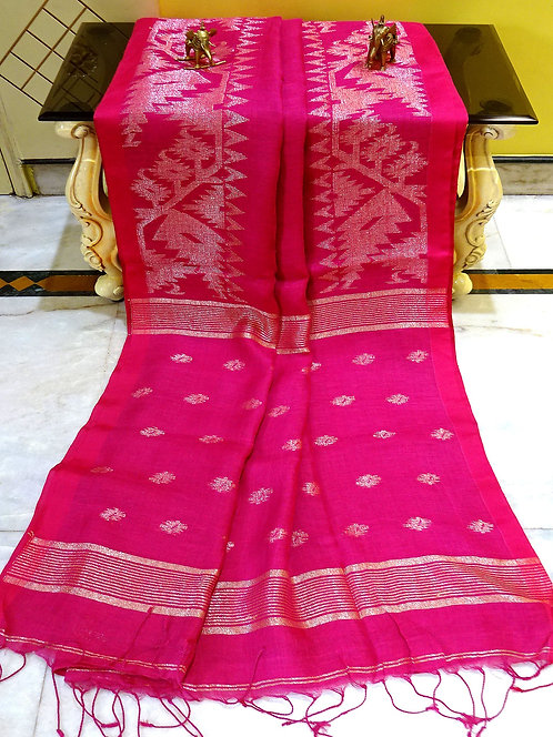 Linen Jamdani Saree in Hot Pink and Antique Silver