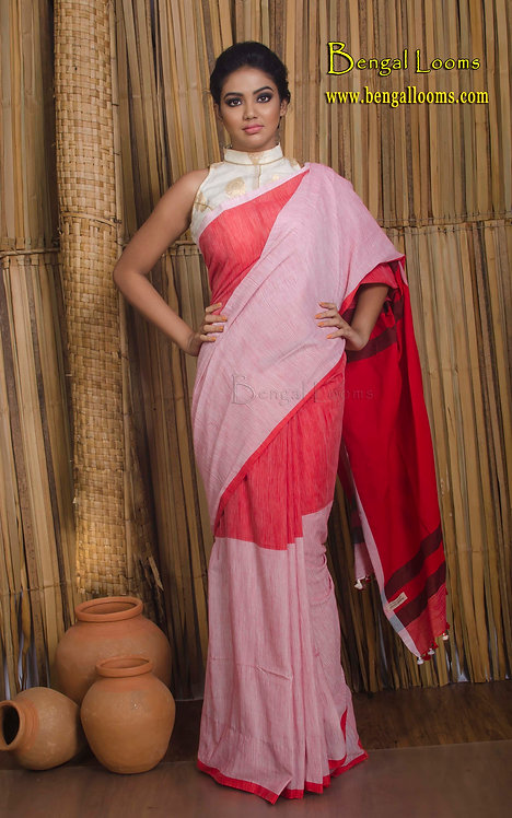 Soft Cotton Saree in Red and Pink