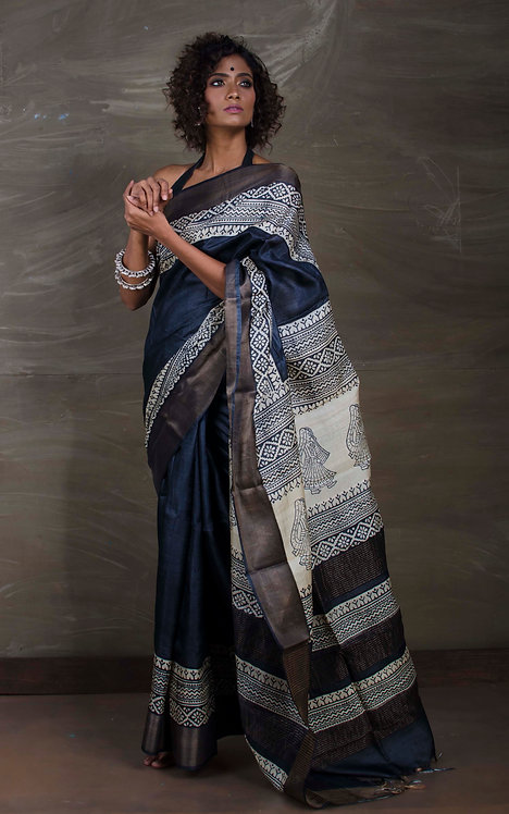 Printed Soft Tussar Silk Saree in Charcoal Black and Cream