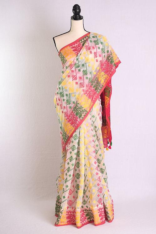 Minakari Soft Jamdani Saree in White, Green and Yellow and Red
