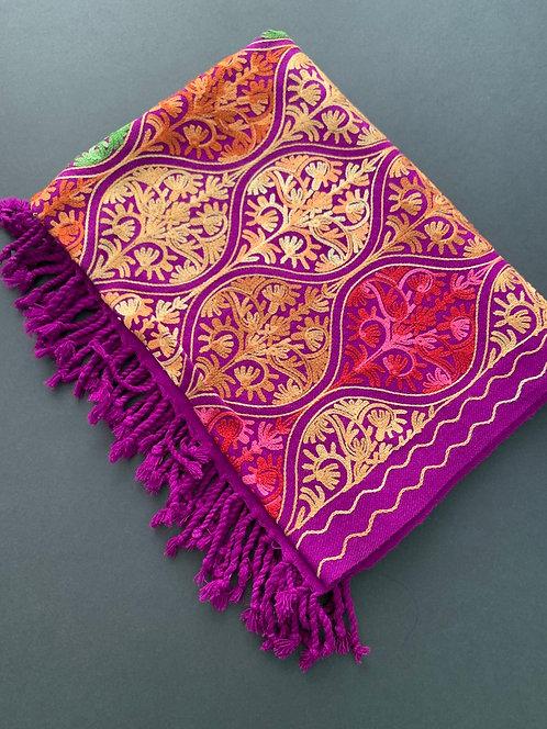 Full Body Work Pure Kashmiri Work Woolen Stole in Purple