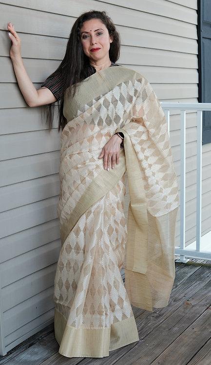 Banarasi Kota Silk Saree in Beige and White