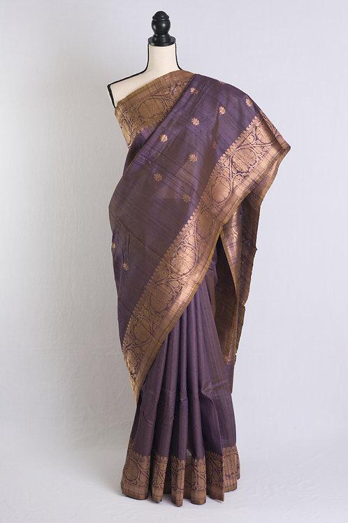 Pure Tussar Banarasi Saree in English Purple and Brushed Gold