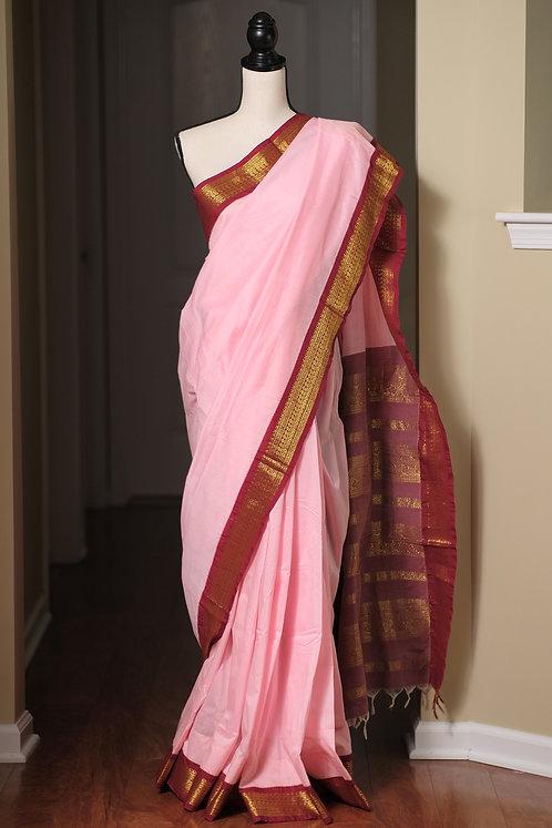Semi Cotton Gadwal Saree in Light Pink and Dark Red